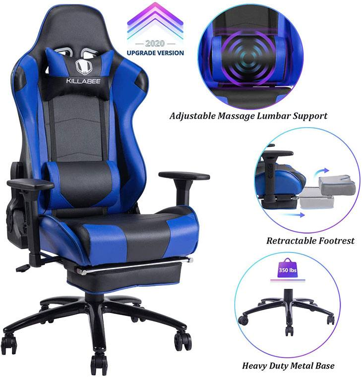 killabee reclining memory foam racing gaming chair review